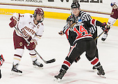Alex Carpenter (BC - 5), ?, Hayley Scamurra (NU - 14) - The Boston College Eagles defeated the Northeastern University Huskies 5-1 (EN) in their NCAA Quarterfinal on Saturday, March 12, 2016, at Kelley Rink in Conte Forum in Boston, Massachusetts.