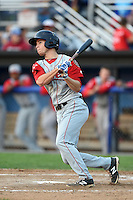 Lowell Spinners outfielder Mike Meyers (15) at bat during a game against the Batavia Muckdogs on July 18, 2014 at Dwyer Stadium in Batavia, New York.  Lowell defeated Batavia 11-2.  (Mike Janes/Four Seam Images)