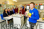 "Michael O'Shea, Castleisland Community College students project ""Positive of Wellness and Is Happiness a State of Mind and Wellbeing"" is going to the national final of the Young Scientist.<br /> Front: Michael O'Shea<br /> Back l to r: Junita Lovett, Jacinta Buckley, Laura Leahy, Nancy O'Connor, Mairead Corridan and Donnacha Hickie, Theresa Lonergan (Principal)."