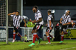 Nathan Arnold of Grimsby Town (left) celebrates scoring his second goal of the game against Eastleigh Football Club to make it 1-2 during the Vanamara Conference Play Off Semi Final First Leg match between Eastleigh and Grimsby Town at The Silverlake Stadium, Eastleigh<br /> Picture by David Horn/eXtreme aperture photography +44 7545 970036<br /> 30/04/2015