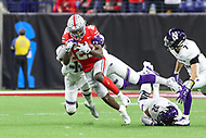 Indianapolis, IN - December 1, 2018: Ohio State Buckeyes wide receiver Parris Campbell (21) is tackled after catching a pass during the Big Ten championship game between Northwestern  and Ohio State at Lucas Oil Stadium in Indianapolis, IN.   (Photo by Elliott Brown/Media Images International)