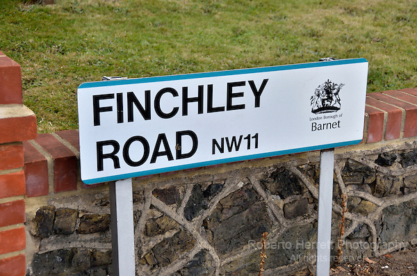 Finchley Road NW11 street sign, London, UK.