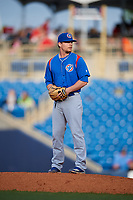 South Bend Cubs relief pitcher Brian Glowicki (17) gets ready to deliver a pitch during the first game of a doubleheader against the Lake County Captains on May 16, 2018 at Classic Park in Eastlake, Ohio.  South Bend defeated Lake County 6-4 in twelve innings.  (Mike Janes/Four Seam Images)