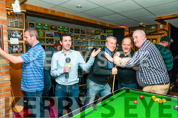 "Mike The Pies: Pictured at the live broadcast of the ""Today with Maura & Daithi"" show from Mike the Pies Bar, Listowel on Thursday last Brian Leahy, Colm Flynn, RTE, John Chute, Eddie Sugrue & Nix Riordan acting out the bar's manaquin video that went viral on the internet."
