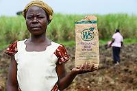 KENYA, County Bungoma, farmer sow maize hybrid seeds along with NPK fertilizer / KENIA, Bauern saehen Hybrid Mais und duengen mit Stickstoff NPK