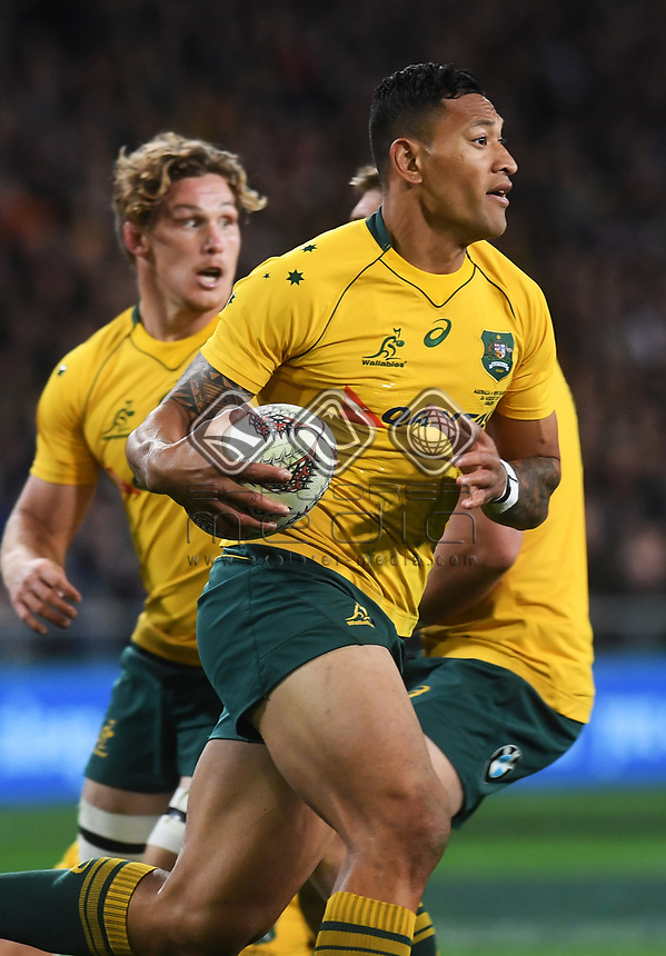 Israel Folau.<br /> Bledisloe Cup and Rugby Championship test match. New Zealand All Blacks v Australian Wallabies at Forsyth Barr Stadium, Dunedin, New Zealand. Saturday 26 August 2017. © Copyright photo: Andrew Cornaga / www.Photosport.nz