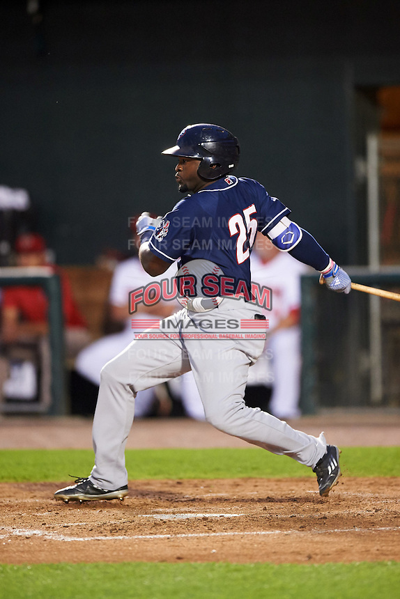 New Hampshire Fisher Cats left fielder Dwight Smith Jr. (25) at bat during a game against the Harrisburg Senators on June 2, 2016 at FNB Field in Harrisburg, Pennsylvania.  New Hampshire defeated Harrisburg 2-1.  (Mike Janes/Four Seam Images)
