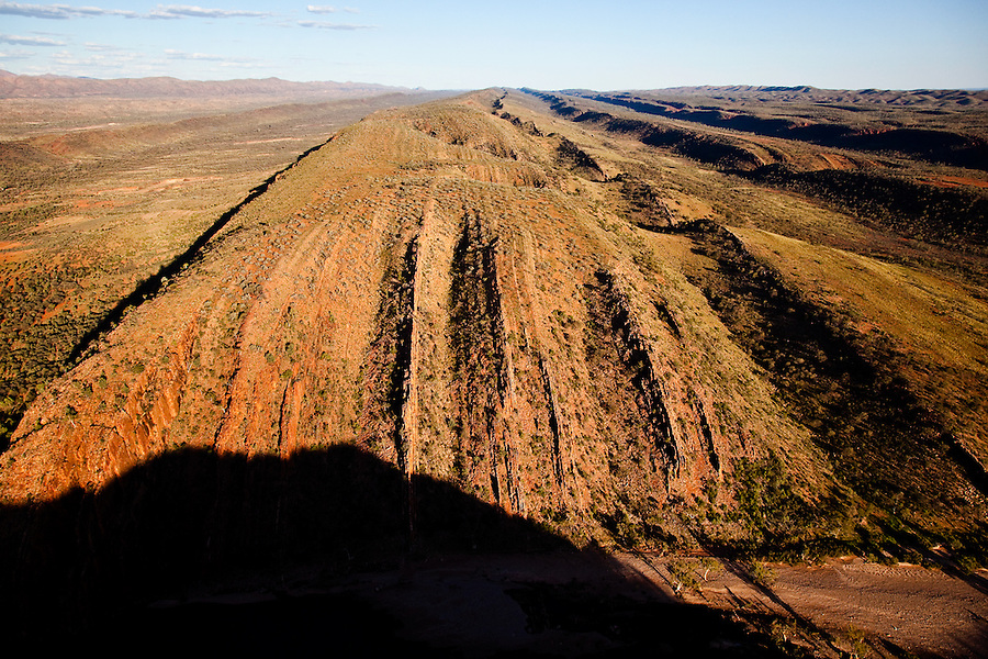 Aerial view of The West MacDonnell Ranges from Glen Helen Gorge looking east toward Alice Springs