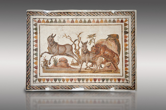 Picture of a Roman mosaics design depicting a lion attacking two onagers or Asiatic wild ass, from the ancient Roman city of Thysdrus. 3rd century AD. El Djem Archaeological Museum, El Djem, Tunisia.