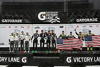 #29 Montaplast by Land Motorsport Audi R8 LMS GT3, GTD: Daniel Morad, Christopher Mies, Dries Vanthoor, #11 GRT Grasser Racing Team Lamborghini Huracan GT3, GTD: Mirko Bortolotti, Christian Engelhart, Rik Breukers, Rolf Ineichen, #12 AIM Vasser Sullivan Lexus RC F GT3, GTD: Frank Montecalvo, Townsend Bell, Aaron Telitz, Jeff Segal, podium