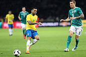 27th March 2018, Olympiastadion, Berlin, Germany; International Football Friendly, Germany versus Brazil; Tony Kroos (Germany) sees Dani Alves  (Brazil) pass off the ball
