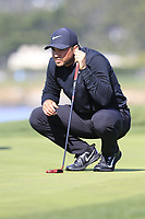 Jason Day (AUS) on the 7th green during Sunday's Final Round of the 2018 AT&amp;T Pebble Beach Pro-Am, held on Pebble Beach Golf Course, Monterey,  California, USA. 11th February 2018.<br /> Picture: Eoin Clarke | Golffile<br /> <br /> <br /> All photos usage must carry mandatory copyright credit (&copy; Golffile | Eoin Clarke)
