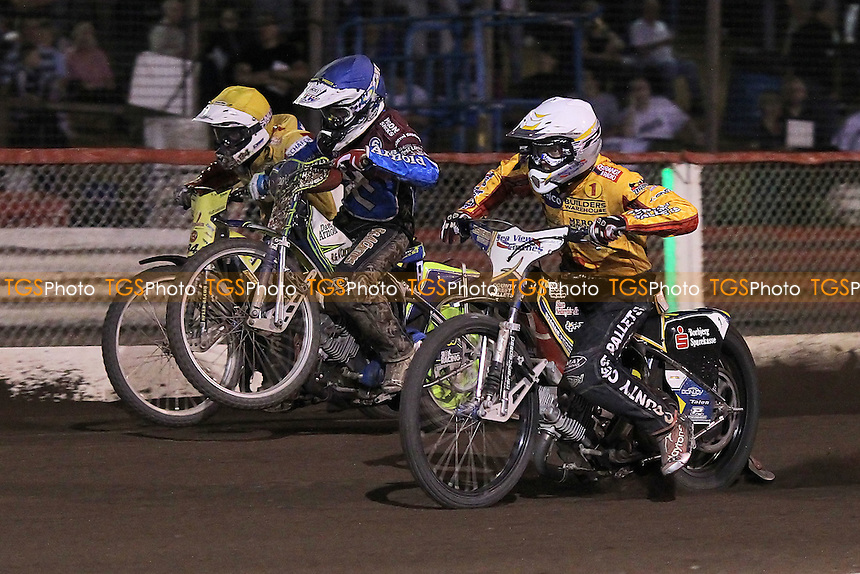 Heat 11: Justin Sedgmen (blue), Bjarne Pedersen (white) and Martin Smolinski - Lakeside Hammers vs Birmingham Brummies - Sky Sports Elite League Speedway at Arena Essex Raceway, Purfleet - 10/08/12 - MANDATORY CREDIT: Gavin Ellis/TGSPHOTO - Self billing applies where appropriate - 0845 094 6026 - contact@tgsphoto.co.uk - NO UNPAID USE.