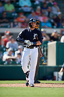 Detroit Tigers third baseman Kody Eaves (82) at bat during a Grapefruit League Spring Training game against the Atlanta Braves on March 2, 2019 at Publix Field at Joker Marchant Stadium in Lakeland, Florida.  Tigers defeated the Braves 7-4.  (Mike Janes/Four Seam Images)