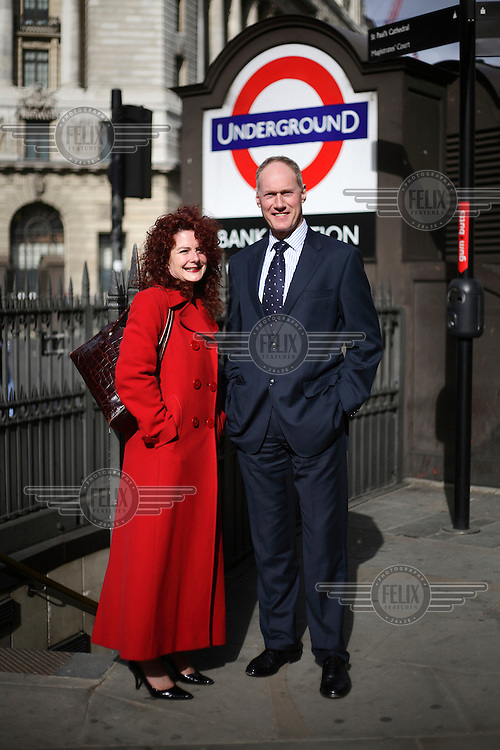 Maria Foxwell and David Keeble, auditors in the City of London, pictured outside Bank underground station. The UK went into recession in the final quarter of 2008 as the City was hit hard by the global credit crunch.