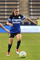 Kansas City, Kansas - Saturday April 16, 2016: FC Kansas City midfielder Heather O'Reilly (9) kicks the ball against Western New York Flash at Children's Mercy Park. Western New York won 1-0.