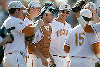 Texas Longhorns Tant Shepherd, Erich Weiss, Jacob Felts, Jonathon Walsh prepare to take the field against the Arizona State Sun Devils  in NCAA Tournament Super Regional Game #3 on June 12, 2011 at Disch Falk Field in Austin, Texas. (Photo by Andrew Woolley / Four Seam Images)
