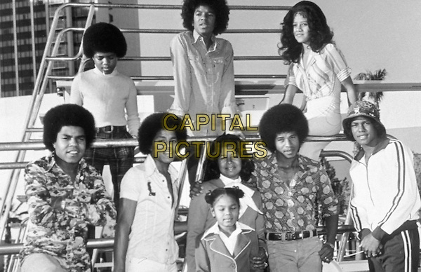 THE JACKSON FIVE & FAMILY. At MGM,.Michael Jackson dies at the age of 50 after suffering a heart attack on July 25th, 2009.29th November 1974.half length brothers sisters mother mum michael janet .www.capitalpictures.com.sales@capitalpictures.com.©Capital Pictures
