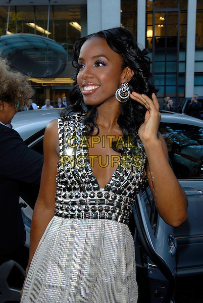 KELLY ROWLAND.Arrivals at the 4th Annual Glamour Women Of The Year Awards, Berkely Square Gardens, London, England. .June 5th 2007.half length silver grey gray jewel encrusted earrings studded dress low cut hoop hand.CAP/FIN.©Steve Finn/Capital Pictures