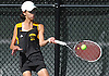 Emily Tannenbaum returns a shot from Kimberly Liao, also of Commack, during the Suffolk County girls tennis Division I singles final at Half Hollow Hills West High School on Tuesday, Oct. 11, 2016.