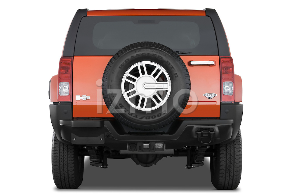 Straight rear view of a 2008 Hummer H3 Alpha SUV