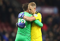 Newcastle United's Martin Dubravka and Burnley's Joe Hart<br /> <br /> Photographer Rachel Holborn/CameraSport<br /> <br /> The Premier League - Burnley v Newcastle United - Monday 26th November 2018 - Turf Moor - Burnley<br /> <br /> World Copyright &copy; 2018 CameraSport. All rights reserved. 43 Linden Ave. Countesthorpe. Leicester. England. LE8 5PG - Tel: +44 (0) 116 277 4147 - admin@camerasport.com - www.camerasport.com
