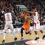 07.11.2018, ratiopharm arena, Neu-Ulm, GER, EC, ratiopharm ulm vs Roter Stern Belgrad, <br /> im Bild Mouhammad Faye (Belgrad, #11), Patrick Miller (Ulm, #2), Joe Ragland (Belgrad, #1)<br /> <br /> Foto &copy; nordphoto / Hafner