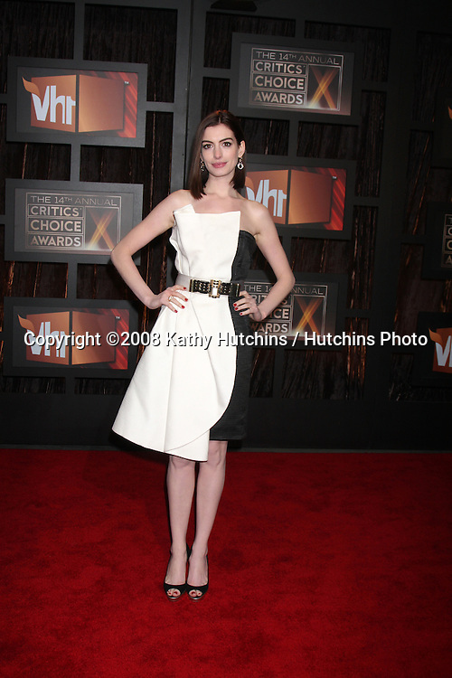 Anne Hathaway  arriving at the  Critic's Choice Awards at the Santa Monica Civic Center, in Santa Monica , CA on .January 8, 2009.©2008 Kathy Hutchins / Hutchins Photo..                .