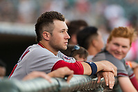 Salt River Rafters infielder Carter Kieboom (24), of the Washington Nationals organization and member of the AFL East, in the dugout before the Fall Stars game at Surprise Stadium on November 3, 2018 in Surprise, Arizona. The AFL West defeated the AFL East 7-6 . (Zachary Lucy/Four Seam Images)