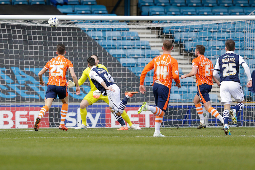 GOAL - Millwall's Lee Gregory scores the opening goal <br /> <br /> Photographer Craig Mercer/CameraSport<br /> <br /> Football - The Football League Sky Bet League One - Millwall v Blackpool - Saturday 5th March 2016 - The Den - Millwall<br /> <br /> &copy; CameraSport - 43 Linden Ave. Countesthorpe. Leicester. England. LE8 5PG - Tel: +44 (0) 116 277 4147 - admin@camerasport.com - www.camerasport.com