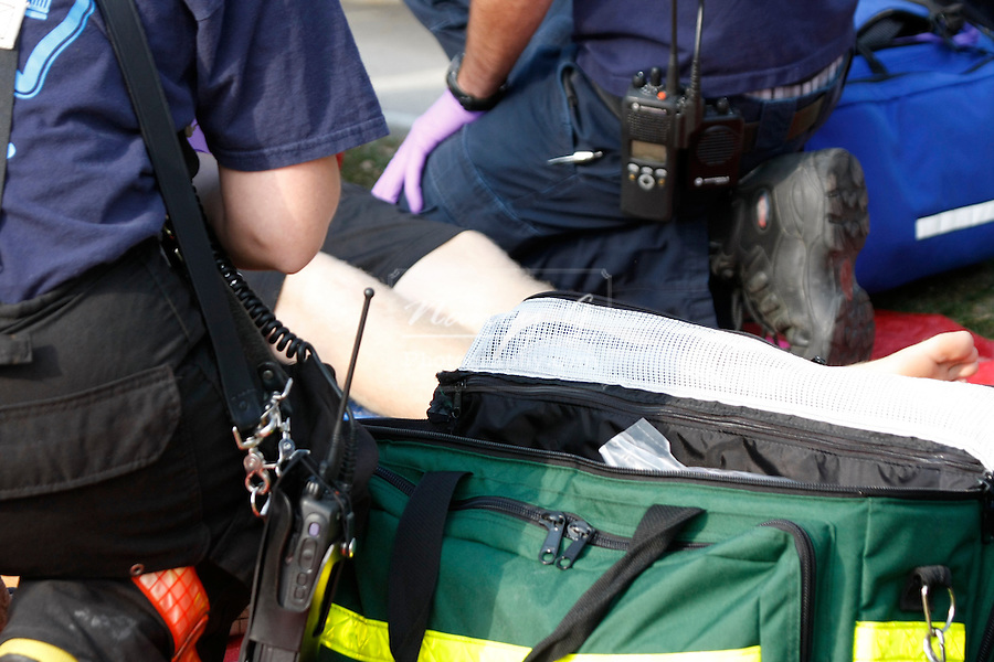 EMTs at the scene of a mass casualty incident helping victims