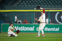 Houston Cougars Connor Hollis (5) catches a fly ball against the Kentucky Wildcats in game two of the 2018 Shriners Hospitals for Children College Classic at Minute Maid Park on March 2, 2018 in Houston, Texas.  The Wildcats defeated the Cougars 14-2 in 7 innings.   (Brian Westerholt/Four Seam Images)
