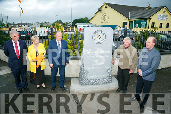 Fr Padraig Walsh (right) blesses the new monument outside Austin Stacks GAA club grounds at Connolly Park on Monday evening and President of the club Brendan Dowling, Unveils   The Rock monument to commemorate the  100 year celebrationswith  Mairead Fernane, Cllr Jim Finucane and  Chairman of Austin Stacks Liam Lynch