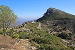 Mountain peaks landscape at Coll de Rates, Tàrbena, Marina Alta, Alicante province, Spain looking east