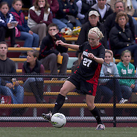 NC State midfielder/forward Stephanie Bronson (27) controls the ball at midfield. Boston College defeated North Carolina State,1-0, on Newton Campus Field, on October 23, 2011.