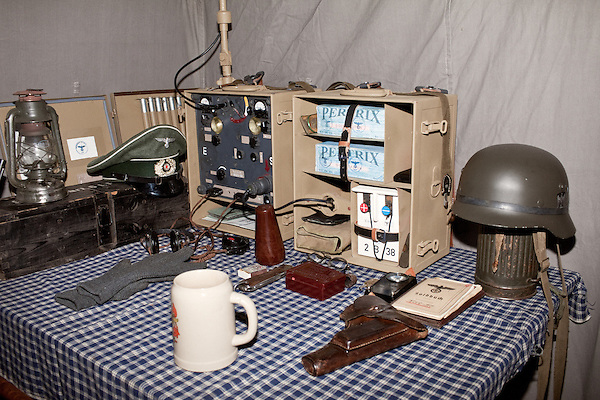 February 18, 2012. Enfield, NC.. Inside one of the command tents.. Reenactors depict German infantry units in a reenactment of the Battle of the Rhineland, which took place September 15, 1944- March 21, 1945..