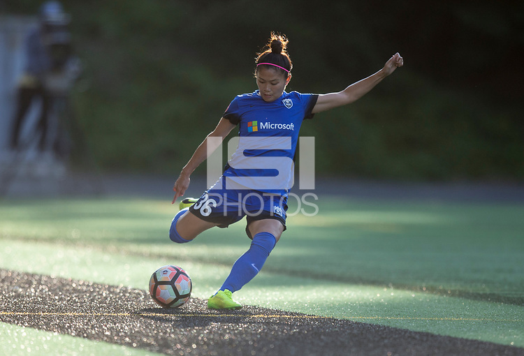 Seattle, WA - Saturday July 15, 2017: Nahomi Kawasumi during a regular season National Women's Soccer League (NWSL) match between the Seattle Reign FC and the Boston Breakers at Memorial Stadium.