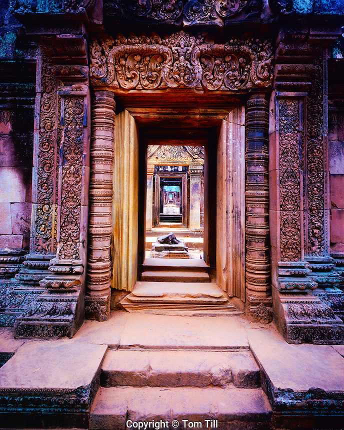 Corridors at Banteay Srei, Angkor Watt, Archeological Park, Cambodia, Banteay Srei Temple built in 967 AD, Khmer Culture ruins in SE Asia jungle