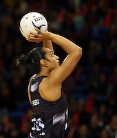 16.07.2015 Silver Ferns Malia Paseka in action during the Silver Fern v Fiji netball test match played at Te Rauparaha Arena in Porirua. Mandatory Photo Credit ©Michael Bradley.