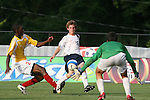 27 June 2008: The United States' Joseph (Alex) Shinsky (16) shoots between Bridge's Malcolm Reed (2) and Robert Beebe (28). The United States 2009 Under-17 Men's National Team lost to the Bridge FC U16s 1-3 at McPherson Stadium at Bryan Soccer Park in Brown's Summit, NC as part of the U.S. Soccer Federation Development Academy Summer Showcase which is part of the 2007-2008 regular season.