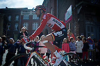 Jelle Vanendert (BEL/Lotto-Soudal) to the start<br /> <br /> 79th Fl&egrave;che Wallonne 2015