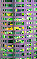 Canada, Ontario, Toronto. Close-up of office tower with rooms illuminate