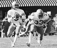 Ralph Dieter Brock Winnipeg Blue Bombers quarterback and Richard Crump running back. Copyright photograph Scott Grant