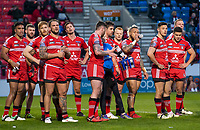 Picture by Allan McKenzie/SWpix.com - 26/04/2018 - Rugby League - Betfred Super League - Salford Red Devils v St Helens - AJ Bell Stadium, Salford, England - Salford's dejection shows as they slip further behind St Helens.