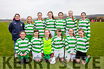 The Listowel Celtic U14's who defeated Iveragh Utd on Saturday were front l-r; Melanie Higgins, Cara Trainor, Labhaoise O'Sullivan-Murphy, Caoimhe Spillane, Aoife Horgan, Zara O'Doherty, back l-r; Mary Horgan(Coach), Eve Roache-Hussey, Eimear O'Donoghue, Mary Bates, Clíona Pierce, Aisling Kelly & Hannah Healy.  Aoife Horgan gave a great display on the day with six goals to her credit.