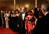 United States President George W. Bush and First Lady Laura Bush arrive for the annual Ford's Theatre Gala in Washington, DC, being taped on June 24, 2007 for airing at Christmastime.<br /> Credit: Chris Maddaloni / Pool via CNP