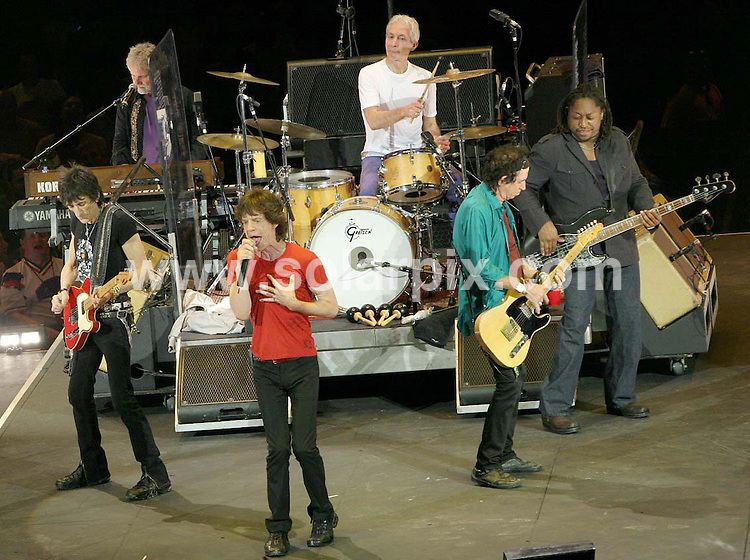 **ALL ROUND PICTURES FROM SOLARPIX.COM**.**SYNDICATION RIGHTS FOR SPAIN, PORTUGAL & DUBAI (U.A.E) ONLY**.The Rolling Stones live in concert at the 02 Arena in Greenwich in London on the 21_08_07 with Keith Richards,Mick Jagger, Charlie Watts and Ronnie Wood..JOB REF:4523-NLA    DATE:21_08_07 .*UNDER NO CIRCUMSTANCES IS THIS IMAGE TO BE REPRODUCED FOR ANY ONLINE EDITION WITHOUT PRIOR PERMISSION*