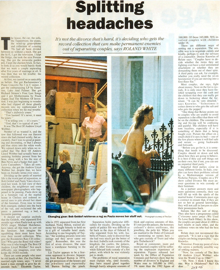 Paula Yates moves out of the marital home she shared with Sir Bob Geldof following her relationship with Michael Hutchence of INXS.THE TIMES cutting.PIC JAYNE RUSSELL. 22.09.1995