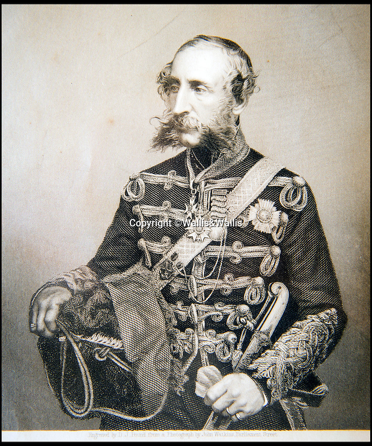 BNPS.co.uk ()1202 558833)<br /> Pic: Wallis&Wallis/BNPS<br /> <br /> Contemporary print of Lord Cardigan after the Crimean campaign.  <br /> <br /> An extraordinary collection of artefacts and momentoes from one of the most infamous days in British military history is being sold at Wallis&Wallis auctioneers in genteel Lewes, East Sussex.