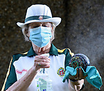 Pictured:  Member 'lady' Jenni Winney sprays disinfectant on one of her bowls.<br /> <br /> The World's Oldest Bowling Green closed for the first time in it's history due to the coronavirus pandemic. The Southampton Old Bowling Green, which has been open since 1299, didn't even close through the two World Wars and now plans to officially re-open tomorrow, Friday 10th July.<br /> <br /> In the lead up to the official re-opening, members have been allowed to practice roll ups by placing two mats either end, which remain in place and are disinfected, and the jack is moved into position with the use of the players' feet.<br /> <br /> The Green itself has been cared for since 1187 in the region of Richard I, as lawns for the Warden of God's House Hospital, with games using large wooden balls by officals from the hospital starting around 1220s. The Master of the Green was elected in 1299.<br /> <br /> © Simon Czapp/Solent News & Photo Agency<br /> UK +44 (0) 2380 458800